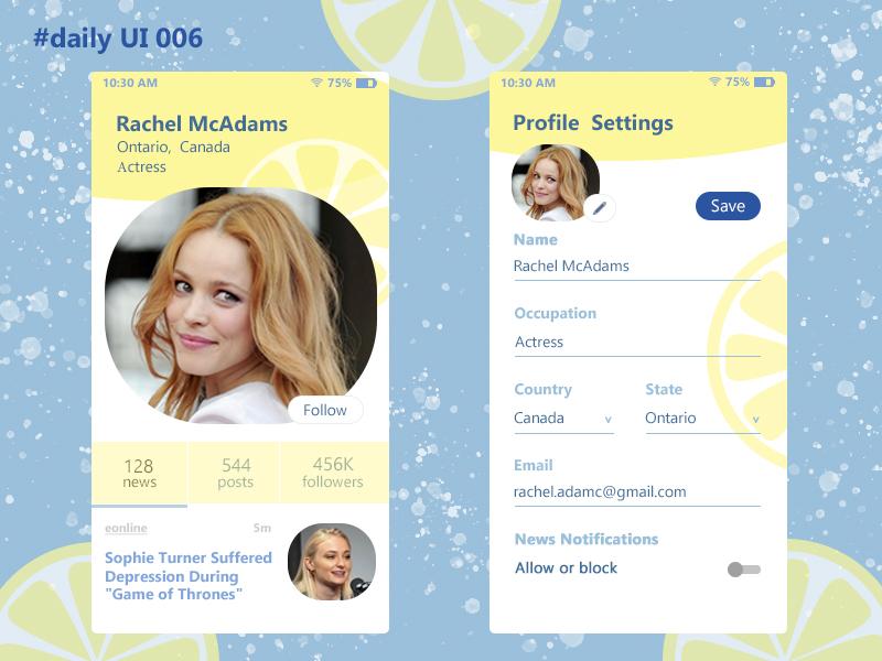 Profile mobile app profile settings profile design profile web ui design dailyui
