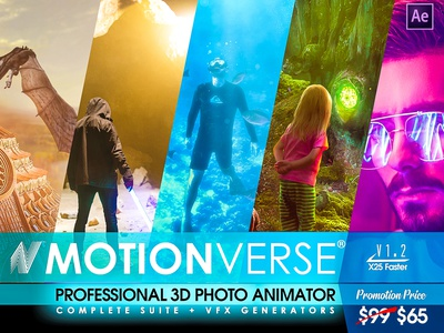 MotionVerse - After Effects 3D Photo Animator and VFX Suite after effects picture instagram youtube photos photography toolkit portrait slideshow universal motion cinemagraph parallax camera projection 3d projection 3d animation photo animation photo animator 2d to 3d