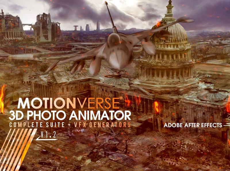 MotionVerse - After Effects 3D Photo Animator and VFX Suite special effects photoshop particles dust fire vfx displacement map portrait parallax photo animation 2d to 3d tutorial after effects animation after effects
