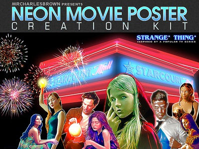 Neon Movie Poster Kit creative movies template movie poster logo education design illustration graphicriver image effect stranger things tutorial photo effect photoshop action