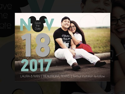 Save the Date for Laura & Ivan wedding couple mickey mickey mouse teal print weddings save the date disney