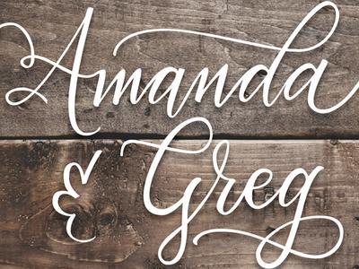 Hand Lettered to Vector:  Amanda & Greg illustrator pen tool vector greg amanda wooden weddings lettering hand lettering