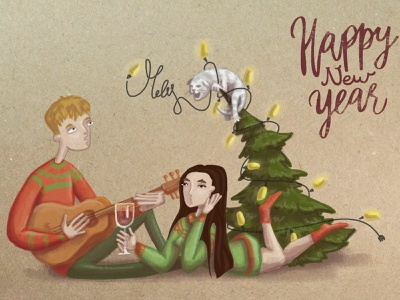 New Year card иллюстрация открытка new year