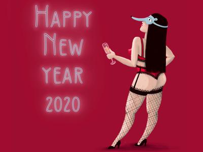 New year's night illustration art drawing