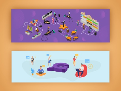 Banner Illustration isometric banners blogbanner bannerillustration banner illustrator digital illustration illustration