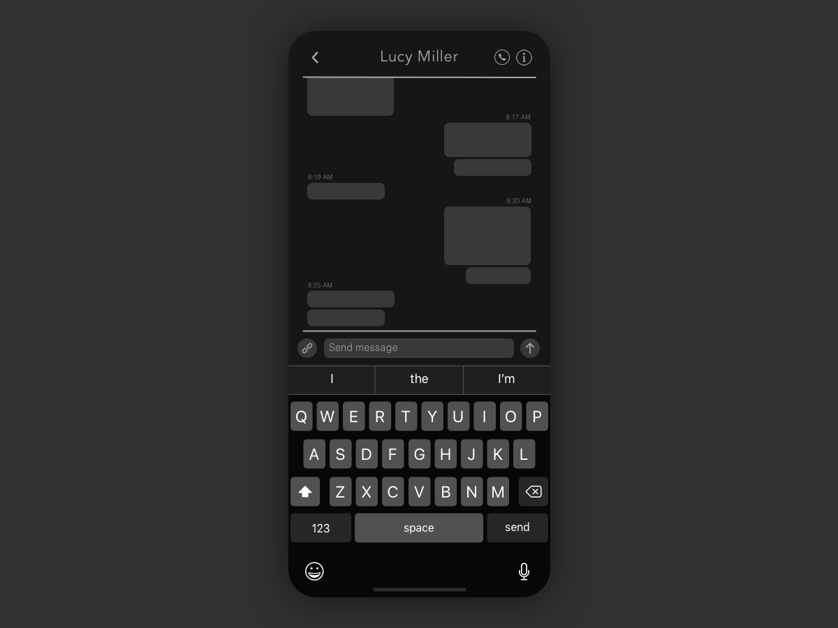 Daily UI #013 - Direct Messaging direct messaging dark mode dark text messaging message 013 app ux ui design daily ui dailyui daily 100 challenge