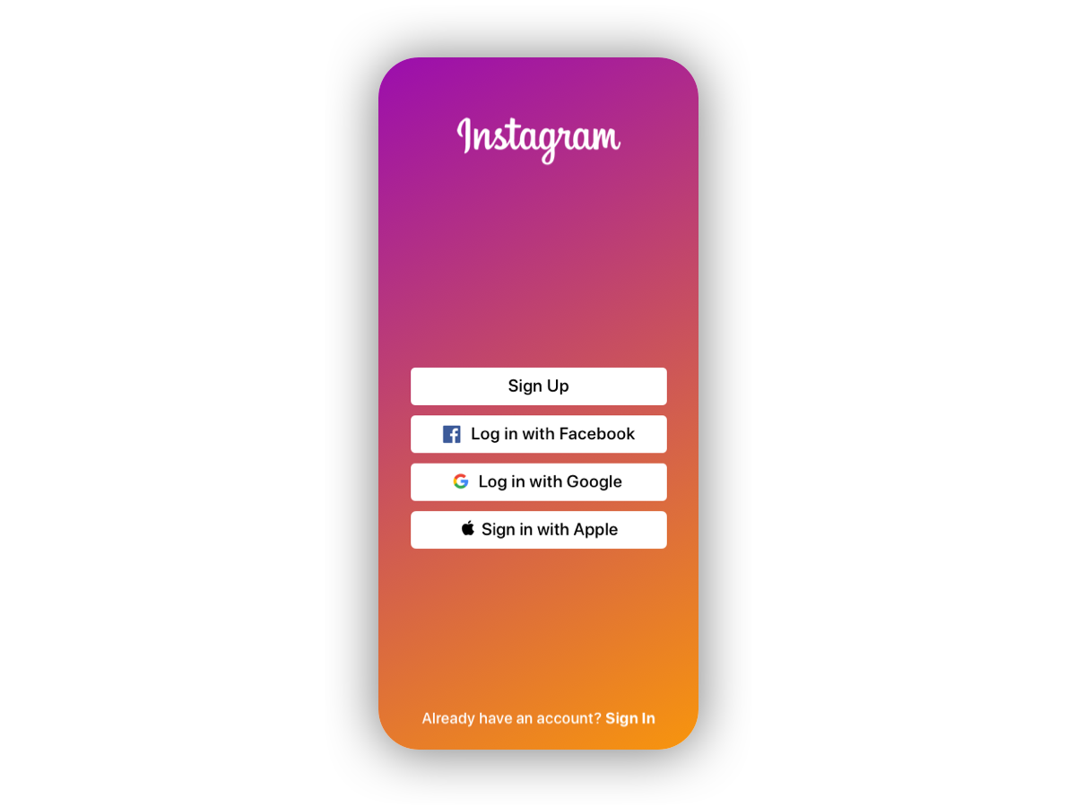 Daily UI #023 - Onboarding sign in with apple apple signup log in instagram onboarding 023 app ux ui design daily ui dailyui daily 100 challenge