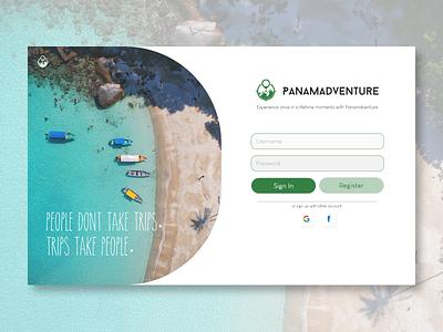 PanamAdventure DailyUI Challange 001 graphic design 100daychallange dailyui login sign up web design design ux ui