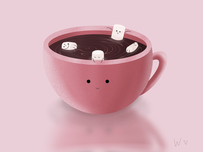 Hot chocolate time ☕️ procreate cutie marshmallow hot chocolate cup drawing art