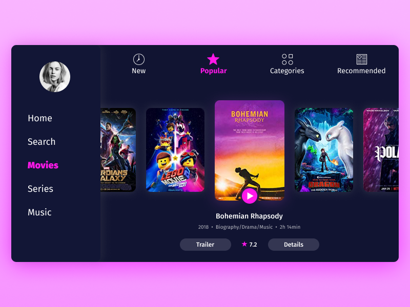 TV App - Daily UI #025 video tv app film app ui daily challenge design daily 100
