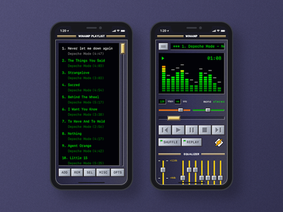 XUI - Winamp. bevels musicplayer playlist uiux doodle practice iphone x winamp