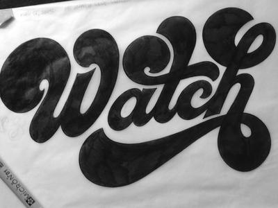 Watch design lettering typography seventies 70s script groovy