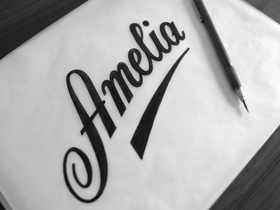 Amelia Dribbble lettering typography sketch micron wip tracing flourish