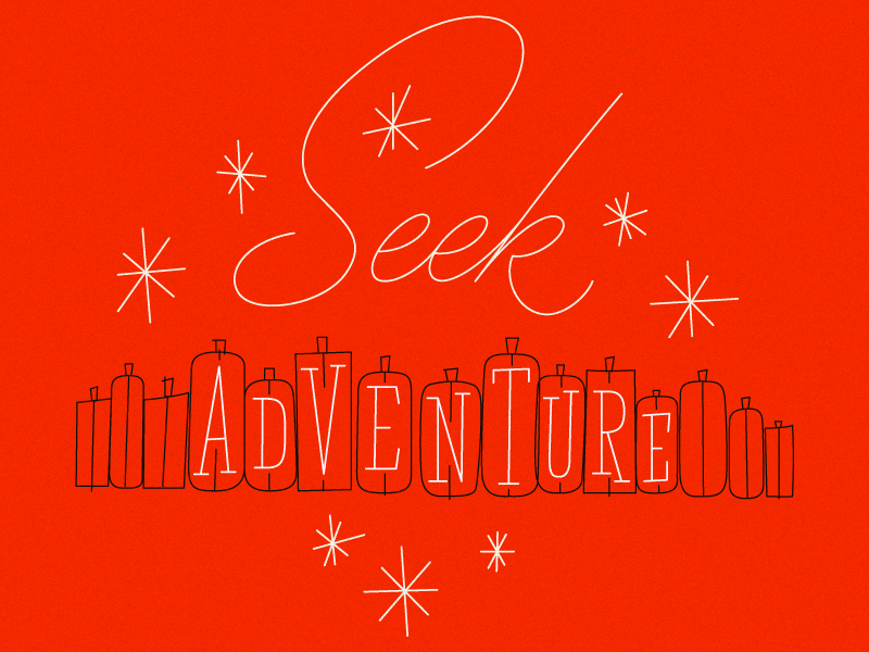 Seek Adventure lettering typography script slab serif illustration luggage travel adventure phraseology