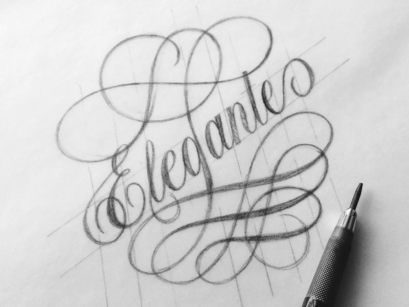 Elegante lettering typography flourishes font script decorative sketch