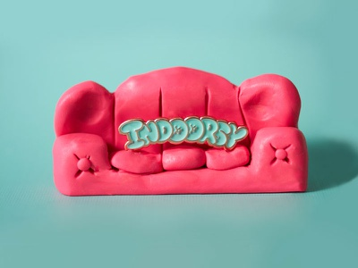 Indoorsy Lapel Pin pillows launch lapel pin product clay couch los angeles lettering pudgy lazy lettering