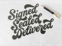 Signed Sealed Delivered Sketch stars thick swashes funky script juicy porno 70s design lettering