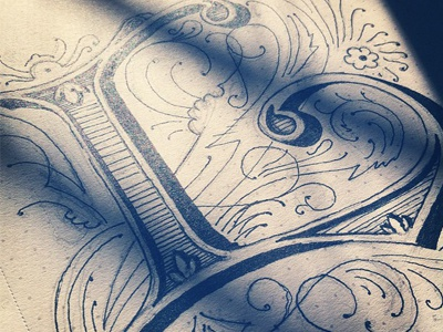 "Sketch of the ""L"" dropcap lettering typography design typefight competition filigree illustration l alphabet"