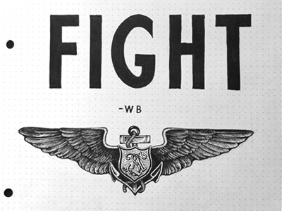 I'll Fight - First Sketch lettering type design typography salvation army wardrobe project personal crest wings anchors drawing sketch