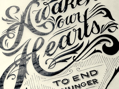 Awaken Our Hearts - Sketch lettering typography type letters filigree flourishes ligatures sketch process pen paper sevenly