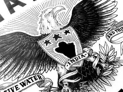 Water is a Right illustration design eagle bird water lettering typography stippling pen paper ink sans serif stars banners shield crest arrows feather leaves