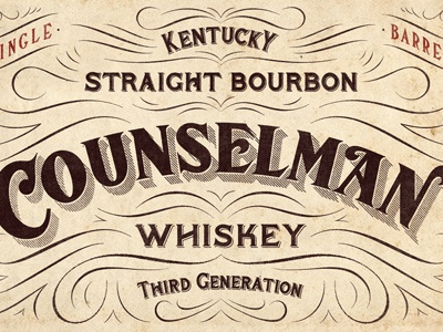 Counselman Whiskey Label design typography lettering flourishes decoration whiskey ligatures serif vintage alcohol beverage bourbon