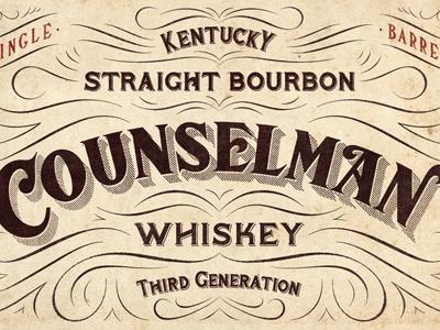 Counselman Whiskey Label design typography lettering flourishes decoration whiskey ligatures serif vintage alcohol beverage bourbon