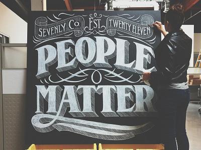 People Matter lettering design typography creative chalk serif flourishes decorative art banner ligature