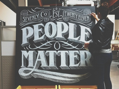 People Matter lettering design typography creative chalk serif flourishes decorative art banner ligature