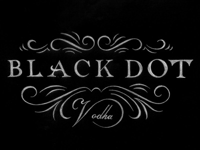 Final Black Dot Logo design lettering type typography serif flourishes decorative decoration beautiful elegant pencil paper hand drawn vodka alcohol black