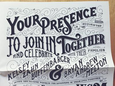 Wedding Invite lettering typography design creative inspiration graphic design invitation wedding filigree ligature newsprint