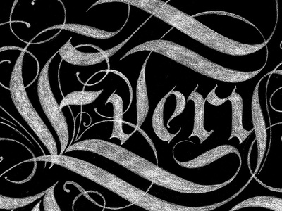 Every Person Matters design typography lettering gothic black and white ligatures flourishes lines pencil