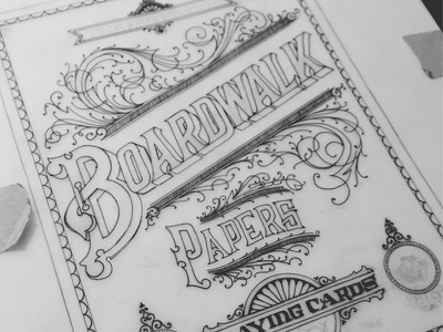 Boardwalk Playing Cards design typography lettering creative cards playing cards pen paper flourishes filigree decorative fancy complicated hand drawn