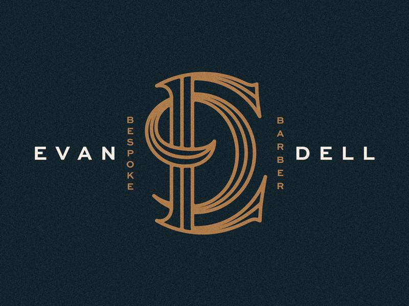 Evan Dell haircut hair inline script lockup barber lettering monogram logo