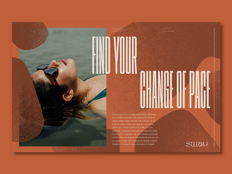 Sway boutique hotel beach water ocean editorial headline website layers flow sway blob bold art direction layout identity branding type typography
