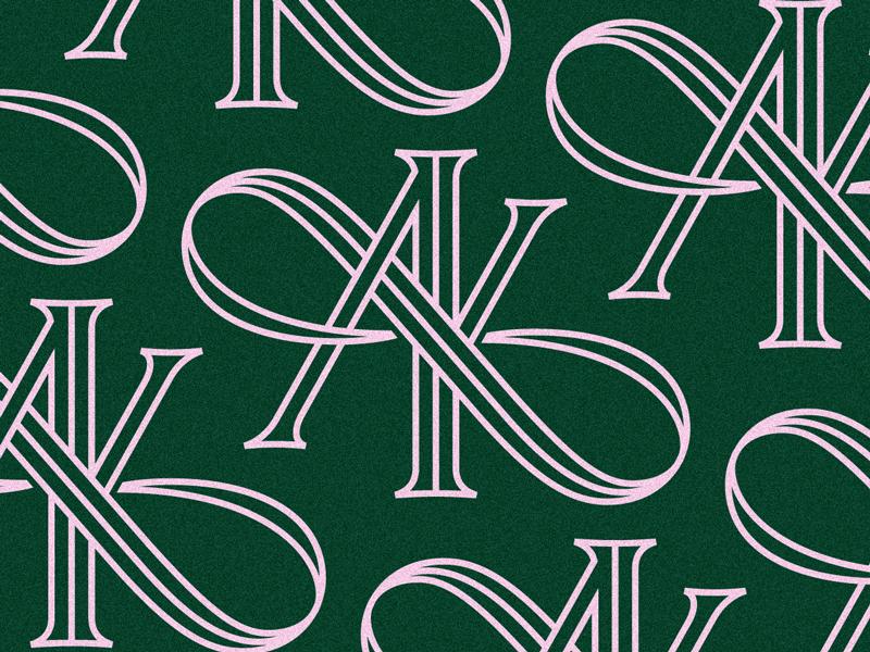 A(O)K inline elegant serif ring invitation wedding infinity monoline k a monogram identity branding logo type typography lettering