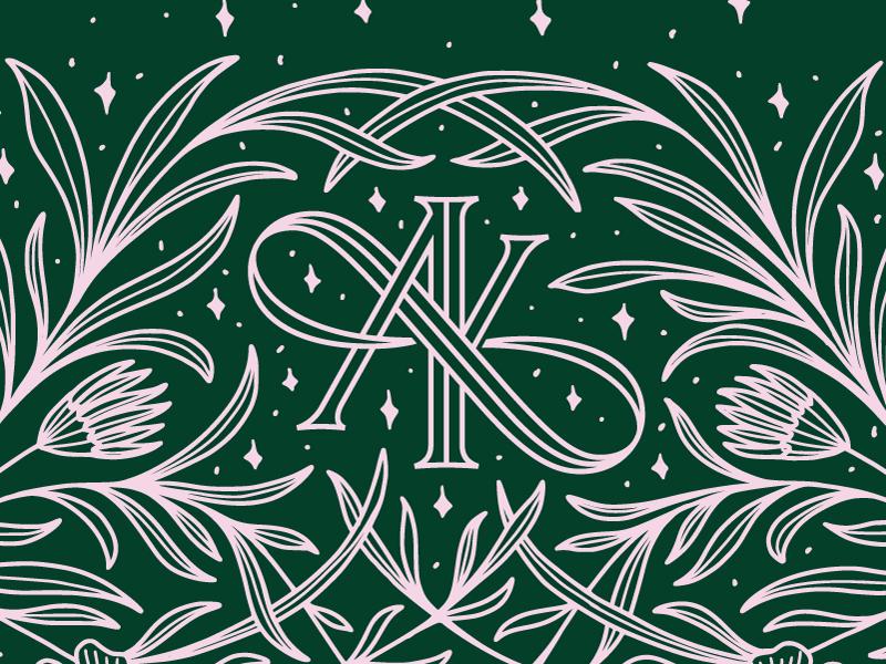 A(O)K illustration flowers botanical plants wedding typography type serif ring monoline monogram logo lettering challenge k invitation inline infinity elegant branding a