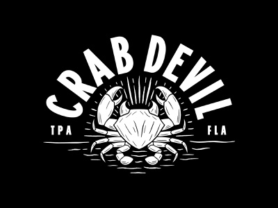 Crab Devil badge tampa florida horns light crab vintage arc type logo identity hand drawn rough devil branding