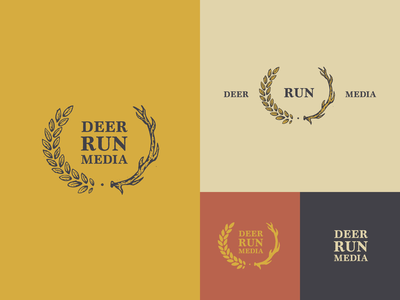 Deer Run Media Logos texture vintage logo film branding drm deer run media