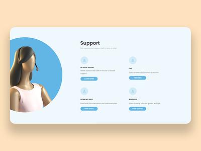 UltraCart Support Section ui buttons support 3d website layout webdesign