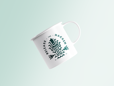 """Release The Hacken"" Mug Design packaging print hackathon developer skuid squid mug design mug"