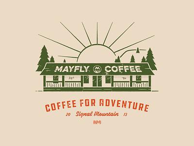 Mayfly Coffee Tee Design tennessee chattanooga texture logo shirt coffee branding t-shirt