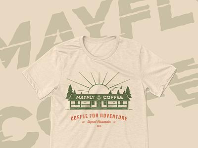 Mayfly Coffee T-shirt Design vintage nativemade branding design merch texture logo branding chattanooga coffee mayfly tshirt