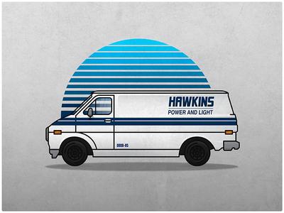 Hawkins Power And Light Van 80s netflix vintage van hawkins stranger things