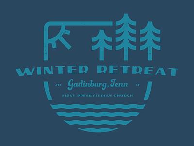 Winter Retreat Badge Design church chattanooga blue winter retreat gatlinburg tennessee badge tshirt