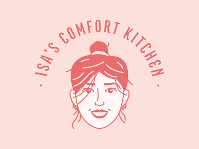 Isa's Comfort Kitchen food logo kitchen food typography vector branding design flat icon illustration