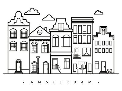 The beautiful city of Amsterdam city amsterdam illustration skyline architecture blackandwhite