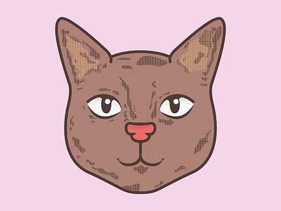 Kittycat cat kitty dots brown pink illustration animal
