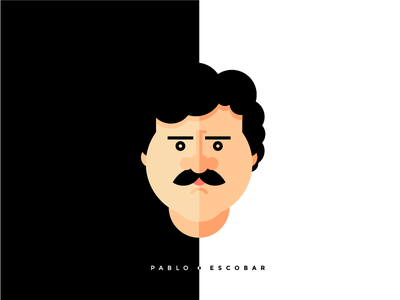 Pablo Escobar has two faces cocain twofaces bandito icon flat colombia drugs narcos illustration escobar pablo