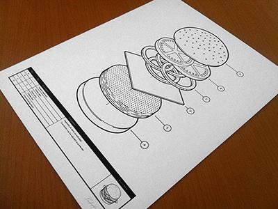 Burger Assembly Print illustration screen print silkscreen poster print burger diagram instructions isometric math hamburger cheeseburger